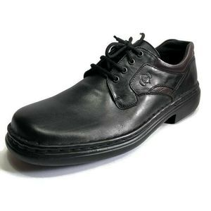 Josef Seibel Black Leather Plain Toe Dress Oxfords